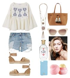 """""""Untitled #235"""" by poorvashikalra ❤ liked on Polyvore featuring MANGO, Topshop, Castañer, Loeffler Randall, Linda Farrow, Tory Burch and Eos"""