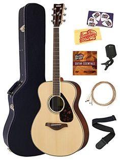 Yamaha FS830 Solid Top Small Body Acoustic Guitar Bundle with Hard Case, Tuner, Strap, Instructional DVD, Strings, Picks, and Polishing Cloth – Natural
