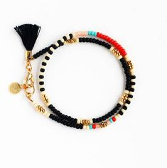 Matte Black Beaded Wrap Bracelet with Gold Coin Charm and Small Tassel, Best Friend Gift : Black Beaded Bracelet Tassel Friendship Bracelet Beaded Wrap Seed Bead Jewelry, Boho Jewelry, Jewelry Gifts, Beaded Jewelry, Jewelery, Handmade Jewelry, Beaded Necklace, Seed Beads, Handmade Bracelets