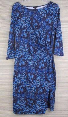 Talbot's Sheath Faux Wrap Dress Medium Career/Dressy Blue Purple Mix  #Talbots #SheathDressWrapDress