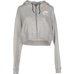 Nike Sweatshirt ($105) ❤ liked on Polyvore featuring tops, hoodies, sweatshirts, grey, zipper sweatshirt, nike sweatshirts, nike, long sleeve sweatshirt and grey sweat shirt