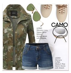 """""""Camo jacket"""" by paculi ❤ liked on Polyvore featuring LE3NO, Keds, Ray-Ban, Shashi and le3no"""