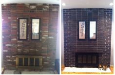 Before and After - Fireplace Update Side by Side Red brick updated to a dark coal using tinted concrete stain and brass fireplace doors updated to black using BBQ spray paint, which is heat rated.  Quick, cheap, and easy DIY project