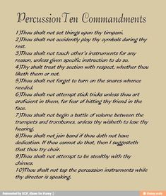 Percussionist ten commandments