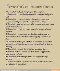 Percussionist ten commandments