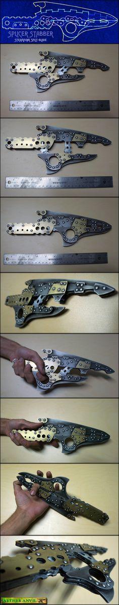Splicer Stabber - Steampunk Split-Blade by epicfoam.deviantart.com