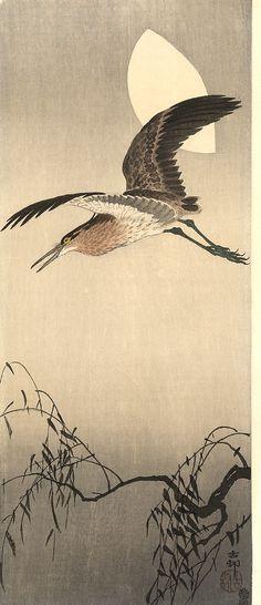 Night Heron with Moon Koson (Naga Oban) Ca. 1910