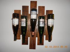 Wine Rack holds 5 bottles Made to hang on by AfterAGlassCreations, $85.00