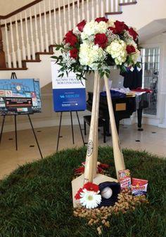 Baseball Theme Table Centerpieces   Baseball Bat Wedding Reception Table Centerpiece with home plate base ...