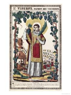 St. Vincent, patron saint of wine growers.