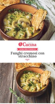 Funghi cremosi con stracchino Veggie Recipes, Diet Recipes, Vegetarian Recipes, Cooking Recipes, Healthy Recipes, Italian Soup, Italian Recipes, Food Design, Antipasto
