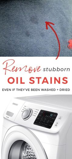 How to remove set in oil stains and set-in grease stains from clothes. Cooking oil on clothes out of the dryer is the worst! #oil #stains #laundrytips