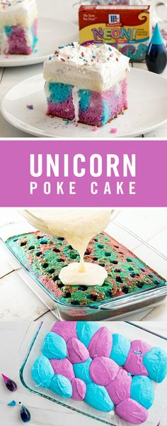 Decadent, yet light and oh so bright! This nostalgic poke cake recipe meets unicorn dessert. Food Color creates a vibrant blue and purple cake, and Raspberry Extract is the perfect flavor twist for the white chocolate pudding on top. Desserts Ostern, Köstliche Desserts, Delicious Desserts, Dessert Recipes, Poke Cakes, Poke Cake Recipes, Cupcakes, Cupcake Cakes, Easy Easter Desserts