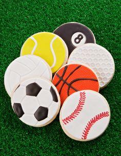 Sports cookies~                                By cookie decorating, soccer ball, baseball, Orange basketball, white golf ball, yellow tennis ball, black 8 ball