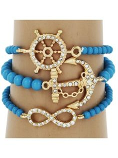 Anchor, Ship Wheel and Infinity Goldtone and Aqua Bracelets #JCB407 | Wholesale Accessory Market