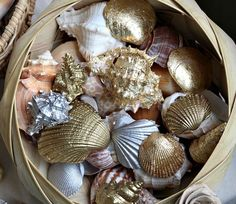 Click Pic for 26 DIY Beach Wedding Ideas | Gilded Seashells as Wedding Centerpiece | Beach Theme Wedding Decorations