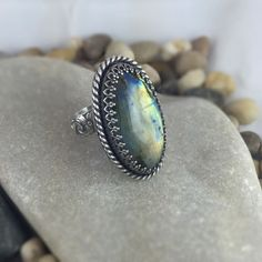Idée et inspiration bague:   Image   Description   Labradorite Ring, Adjustable Ring, Silver Ring