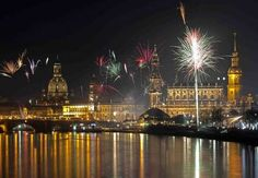 Fireworks erupt over on the Elbe river in Dresden, eastern Germany on January 1, 2013 in Berlin during the New Year's celebrations.