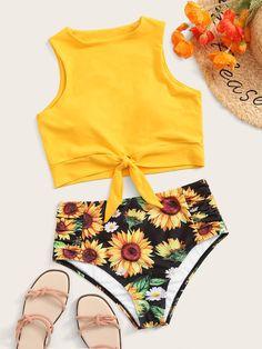 Knot Hem Racerback Top With Sunflower Bikini Set - ! ALL Bikinis - Bikini Swimsuits For Tweens, Bathing Suits For Teens, Summer Bathing Suits, Cute Bathing Suits, Cute Swimsuits, Cute Bikinis, Summer Bikinis, Sunflower Bikini, Women's Swimwear
