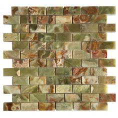 1+in.+x+2+in.+Dark+Green+Onyx+Brick+Pattern+Mosaic+Polished+Mesh-Mounted+Tiles+-