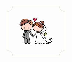 Illustration of bride and groom cute by mariachicdesign on Etsy
