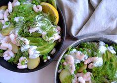 Kartoffelsalat med rejer og asparges…