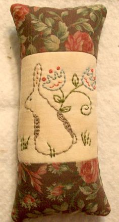 Primitive Stitchery Pincushion Spring Rabbit