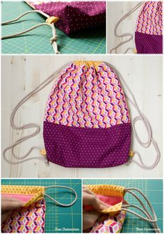 """Kostenloses Schnittmuster: Turnbeutel """"Josie"""" und """"Big Josie"""" - Kostenloses Schnittmuster: Turnbeutel """"Josie"""" und """"Big Josie"""" Gratis DIY Turnbeutel """"Josie"""" (Claudiaguenther for Snaply-Magazin) Sewing Patterns Free, Free Sewing, Free Pattern, Pattern Sewing, Purse Patterns, Sewing Projects For Beginners, Sewing Tutorials, Sewing Tips, Sewing Hacks"""