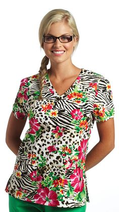 This tropical flower, cheetah and zebra print top wouldn't be complete without paper bag pockets! Print name: Blooms In The Wild #ScrubTop
