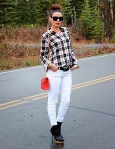 Rule Breaker: White after Labor Day // Zara plaid shirt, J Brand white skinny jeans, COS platform boots and Rebecca Minkoff red mini affair bag