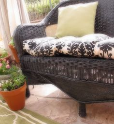 If current white wicker in room doesn't match rest : DIY Easiest & Most Frugal Outdoor/ Porch Updgrade ! How to Paint Wicker (Excellent Tutorial, With Best Paints to Use, Tips, And Full Photo Instruction Tutorial ) ! Wicker Couch, Wicker Headboard, Wicker Bedroom, Wicker Shelf, Wicker Table, Wicker Dresser, Wicker Trunk, Wicker Mirror, Wicker Planter