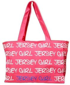 """New Jersey Tote Bag - Jersey Girl, New Jersey Souvenirs, New Jersey Souvenir. """"Jersey Girl"""" canvas tote. zipper closure and inside zipper compartment. Bag is 15 1/2"""" wide by 11"""" high by 5"""" deep. Straps are 10"""" long. Printing is on both sides."""