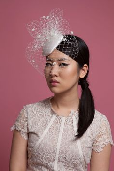 Beatrix Spot Birdcage Veil Cocktail Hat - Genevieve Rose Bridal