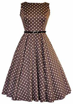 Dark Mocha Polka Dot Hepburn - Lady Vintage