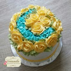 Yellow and Blue Floral Cake