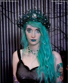 """Named+after+the+Goddess+Asherah,+or,+""""she+who+walks+upon+the+sea"""",+this+crown+is+meant+for+the+head+of+a+true+goddess.  +A+beautiful,+sparkling+teal+color,+soothes+the+eyes+and+imitates+the+color+of+the+darkest+of+seas.+Branches,+shaped+as+a+nest+and+encasing+a+large,+white+pearl,+this+crown+is+r..."""