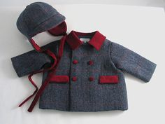 Yorkshire Tweed Baby Boy's Coat and Cap by patriciasmithdesigns, $155.00