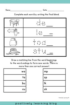Phonics Printables - Add phonics practice to morning work, centers, or send home! Low prep final blends pages with visual support. From Positively Learning Blog #blends #worksheets #phonics
