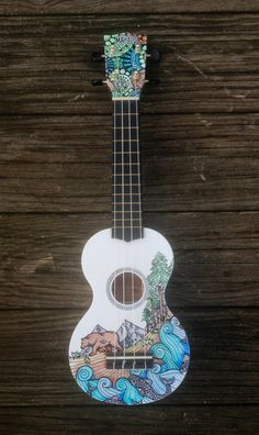 Hand-decorated Soprano Ukulele BEAR by CedarAndSycamore on Etsy