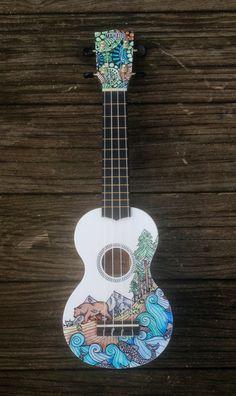 Hand-decorated Soprano Ukulele  BEAR by CedarAndSycamore on Etsy