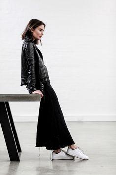 Leather and Slip   Black on Black   Seasonal Dressing   Iro Jacket  Matin Dress   Nike Sneakers   Minimal   HarperandHarley