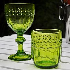 Pretty green glass tumblers for the Christmas table. #christmasglassware £6 each