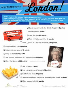 Worksheets: London Scavenger Hunt