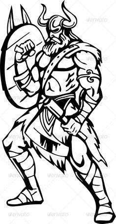Nordic Viking - Vector Illustration. Vinyl-Ready - People Characters