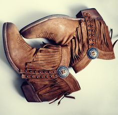 ☮ॐ American Hippie Bohemian Style ~ Fringe Leather Ankle Boots!!