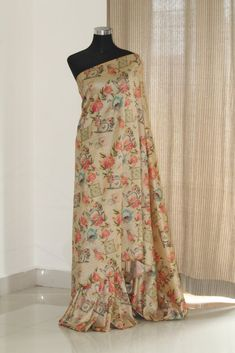 Printed silk saree Printed Sarees, Printed Silk, Crepe Silk Sarees, Simple Sarees, Fancy Sarees, Sari, Bridal, Skirts, How To Wear