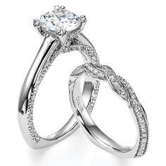Diamond Pave Wedding Set with 3/8 Carats in Round Brilliant Diamonds by Diana from http://www.williamsjewelers.net/