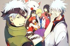 Tags: Fanart, Gin Tama, NARUTO, Haruno Sakura, Uzumaki Naruto, Uchiha Sasuke, Hatake Kakashi, Pixiv, Sakata Gintoki, Team 7, Shimura Shinpac...