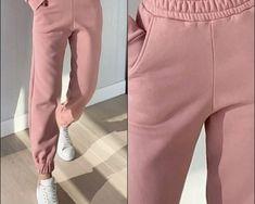 Pantaloni dama lungi de tip jogger din bumbac roz cu elastic si buzunare