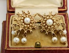 Antique C. 1860 Victorian 14k Yellow Gold White Akoya Pearl Dangle Earrings! in Jewelry & Watches, Vintage & Antique Jewelry, Fine, Retro, Vintage 1930s-1980s, Earrings | eBay